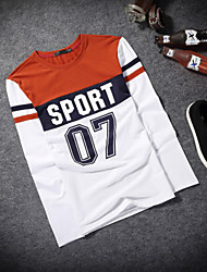 Winter fashion printed letters round collar men long sleeve T-shirt Male render unlined upper garment of a T-shirt