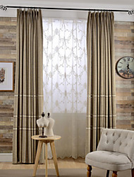 (Two Panels)Modern Beige Lined Polyester Blend Curtain(Sheer Not Included)
