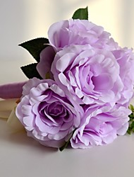 Natural Purple 7 Heads Wedding Bouquet Silk Rose Flowers