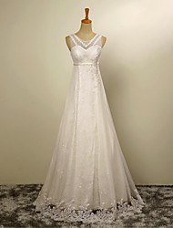 A-line Wedding Dress Floor-length Jewel Tulle with Appliques