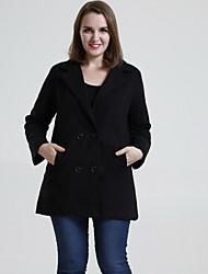 Damen Solide Mantel,Winter Hemdkragen Langarm Rot / Schwarz / Braun / Grün Mittel Wolle / Andere