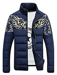 Men's Casual Slim Dragon Totem Printed Down Coat Plus Size / Casual/Daily Print-Cotton / Polyester Cotton Long Sleeve Standing Collar