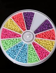 beadia 1box / 46g Glasperlen 2mm Rund gemischt Neonfarben kleine Glasperlen (aprx.1000pcs)