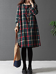 M.Dama  Women's Plaid Blue / Red / Green Dresses , Plus size/ Casual / Work Round Long Sleeve