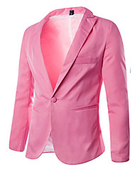 Men's Casual/Daily / Work / Formal / Sports / Plus Size Blazer,Solid Long Sleeve Cotton / Polyester