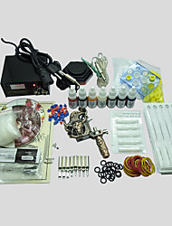 Tattoo Kit 1 Machine With Power Supply Grips Back Stem Tube 10MLx7 Color Ink Needles