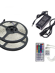 2×5M 150X5050 SMD RGB LED Strip Light and 44Key Remote Controller and 6A EU US UK AU Power Supply (AC110-240V)