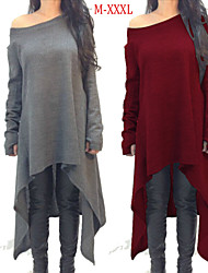 Women's Plus Size Color Block / Solid Color Blue / Red / Black / Gray Dresses , Casual Round Long Sleeve