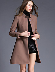 Women's Solid Blue  Brown Coat  Vintage  Casual Long Sleeve Others