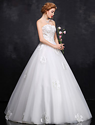 Ball Gown Wedding Dress - White Floor-length Strapless Satin / Tulle