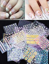 Цветы - 3D наклейки на ногти - Пальцы рук - 6.2cmX5.4cm each piece - 50pcs 3d adhesive nail stickers - ПВХ