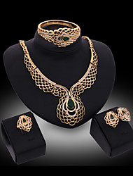 Lucky Doll Women's Vintage Crystal 18K Gold Plated Zirconia Geometric Necklace & Earrings & Bracelet & Ring Jewelry Sets