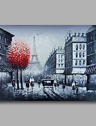 klaar te hangen gestrekte hand geschilderd olieverf doek kunst aan de muur stadsbeeld parise straat Eiffeltoren zwarte paneel