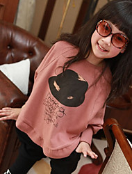 Menina de Camiseta Estampado Misto de Algodão Outono / Primavera Rosa / Cinza