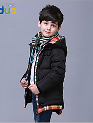 5-10T Kids Apparel Boys Waterproof Winter Long Style Thicken Grid Down Jacket Coat