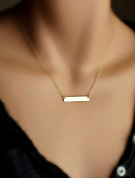 Women's Simple Fashion Gold Plated Metal Bar Pendant Alloy Chain Short Necklace