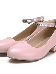 Women's Shoes Glitter / Leatherette Low Heel Heels / Round Toe Heels Dress / Casual Green / Pink / White / Beige