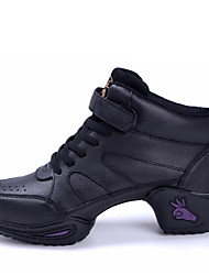Non Customized Women's Dance Shoes Leather Dance Sneakers/Jazz/Modern Dance Black