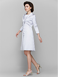 A-line Mother of the Bride Dress - Silver Knee-length 3/4 Length Sleeve Charmeuse