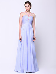 TS Couture Prom Formal Evening Dress - Open Back A-line Scoop Floor-length Chiffon Tulle with Beading