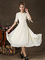 Tea-length Chiffon / Lace Bridesmaid Dress - White Princess Jewel