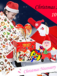 10Pcs/Set Christmas Tattoo Sticker /Christmas Gifts Apple Box/ Cap / Hairpin  (Partial Product Random Delivery)