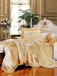 Golden Camel Queen King Size Bedding Set Luxury Silk Cotton Blend Lace Duvet Cover Sets Jacquard Pattern