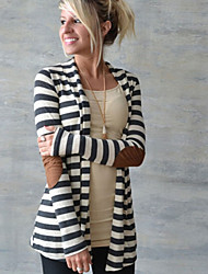 Women's Striped / Patchwork Black Trench Coat , Casual Long Sleeve Cotton