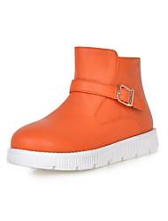 Women's Shoes Leatherette Flat Heel Fashion Boots Boots Dress / Casual Black / Yellow / White / Orange