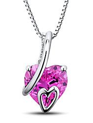 женская форма сердца стерлингового серебра набор с розовым сапфиром, созданной и природного алмаза кулон с серебряной коробке цепи