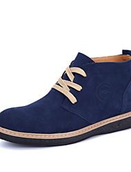 Sapatos Masculinos Botas Preto / Azul / Khaki Couro Casual