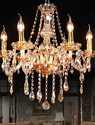 Amber 6 Lights Elegant  Crystal Chandelier for Home