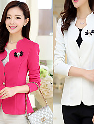 Y.F   Women's Solid Color Pink / Red / White Coats & Jackets , Sexy Tailored Collar Long Sleeveplus size