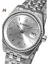EASMAN® Brand Watch Men Silver Big Quartz Watches For Men Dress Men Fashion Wristwatches Designer Luxury Mens Watches Cool Watch Unique Watch