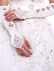 Elegant Satin Elbow Length Gloves Party/Evening Fingerless Gloves Wedding Dress Accessories+DIY Pearls and Rhinestones