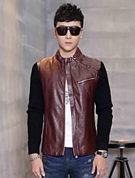 The 2015 men's winter fur collar jacket slim Pu s casual slim skin leather motorcycle set tide