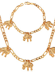 Vogue New Vintage Necklace Set Elephants Charm Figaro Chain 18K Chunky Gold Plated Jewelry For Women Men