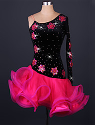Latin Dance Dresses Women's Performance Spandex / Polyester Ruffles 1 Piece Fuchsia