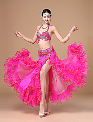 Belly Dance Outfits Women's Performance Polyester Ruffles / Sash/Ribbon 3 Pieces Fuchsia / Red / White / Lake Blue