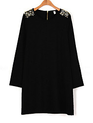 Women's All Match Round Long Sleeve Loose Dress with Beads on the Shoulder