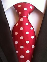 Men Wedding Cocktail Necktie At Work Red White Dot Tie