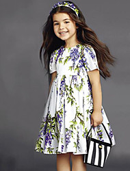 Girl's Vogue  Cotton Blend Fall/Winter Fall/Spring  Lilac Flower  Printing Princess Dress