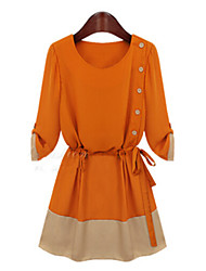 A-plus Women's Patchwork Black / Orange Dresses , Casual Round ¾ Sleeve