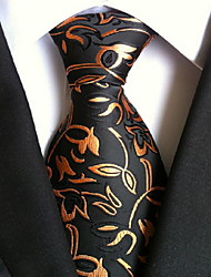 Men Wedding Cocktail Necktie At Work Black Yellow Flower Tie