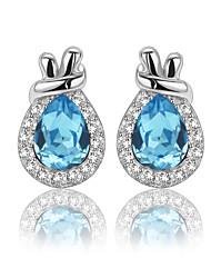 925 Sterling Silver CZ Stone Fashion Sack Shape Stud Earring