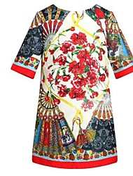 Girl's Vogue  Cotton Blend Fall/Winter Fall/Spring Flowers Half Sleeve Printing Princess Dress