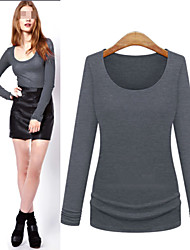 Women's Solid Color Blue / Red / Black / Gray T-Shirts , Sexy / Bodycon / Casual / Cute / Party Round Long Sleeve