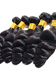 ANNA Virgin Brazilian Loose Wave Hair Weaves 1pcs 100g/pcs Loose  Wave Hair Wefts #1B Black Human Hair Extensions