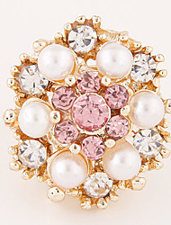 Fashion Sweet Temperament Pearl Shiny Rhinestone Ring