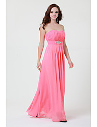 Floor-length Chiffon Bridesmaid Dress A-line Strapless